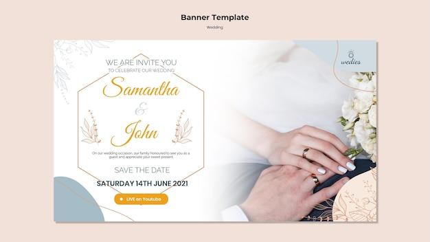 Horizontale banner voor huwelijksceremonie met bruid en bruidegom