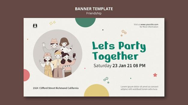 Horizontale banner voor internationale vriendschapsdag met vrienden
