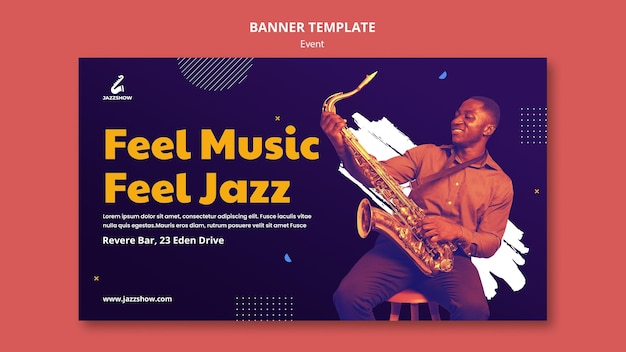 Horizontale banner voor jazzmuziekevenement