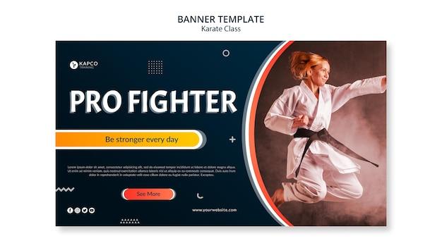 Horizontale banner voor karateklasse voor vrouwen