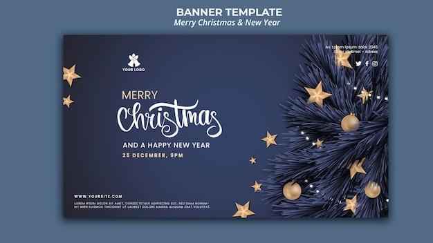 Horizontale banner voor kerstmis en nieuwjaar