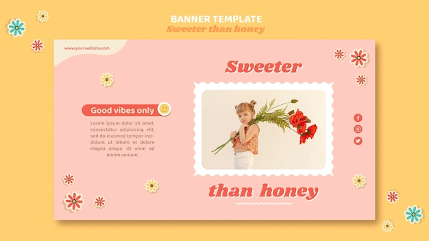 Horizontale banner voor kinderen met bloemen