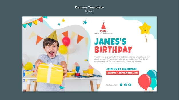 Horizontale banner voor kinderverjaardag