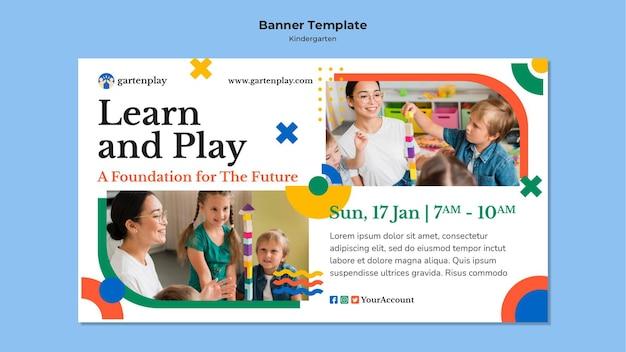 Horizontale banner voor kleuterschool met kinderen
