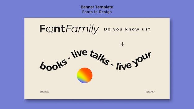 Horizontale banner voor lettertypen en ontwerp