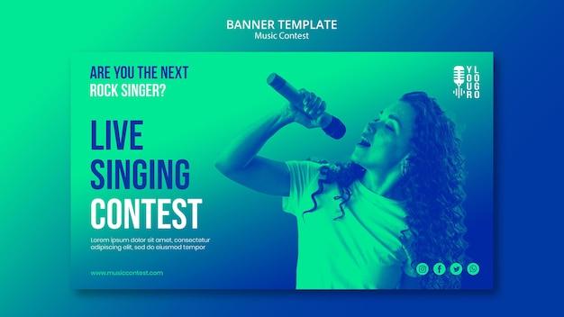 Horizontale banner voor live muziekwedstrijd met artiest