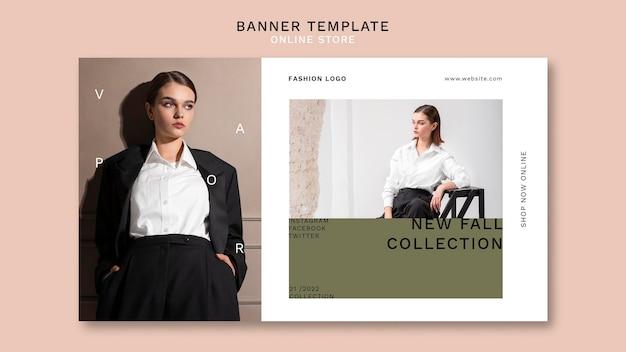 Horizontale banner voor minimalistische online modewinkel