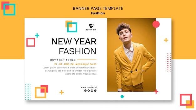 Horizontale banner voor mode met mannelijk model