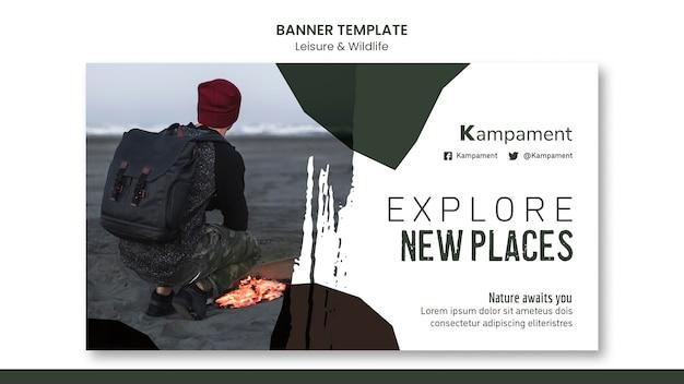 Horizontale banner voor natuurverkenning en vrije tijd