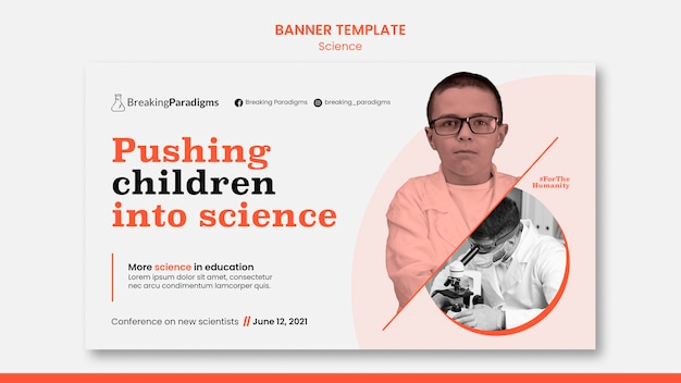 Horizontale banner voor nieuwe wetenschappersconferentie