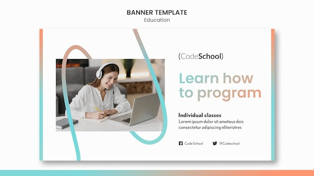 Horizontale banner voor online programmeerschool