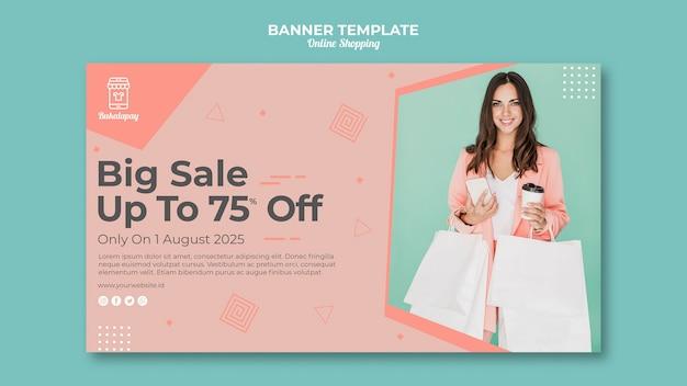 Horizontale banner voor online winkelen met verkoop