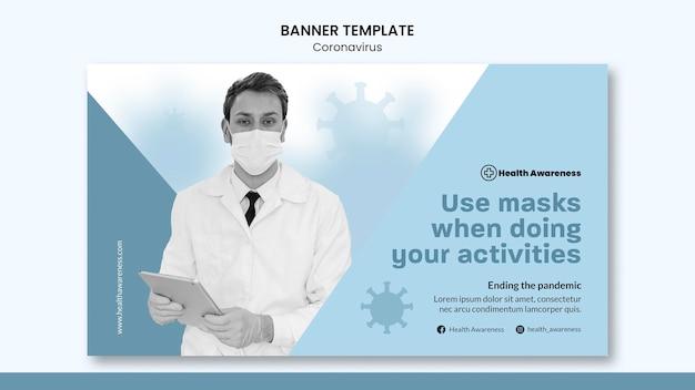Horizontale banner voor pandemie van het coronavirus