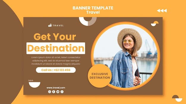 Horizontale banner voor reizen met vrouw