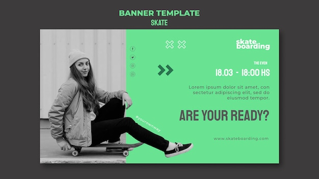Horizontale banner voor skateboarden met vrouwelijke skateboarder