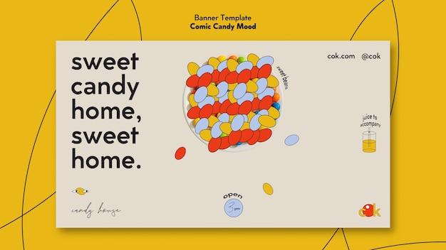 Horizontale banner voor snoepjes in komische stijl