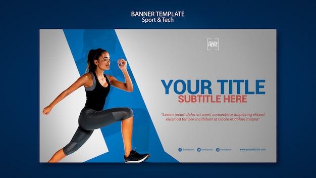Horizontale banner voor sport en tech
