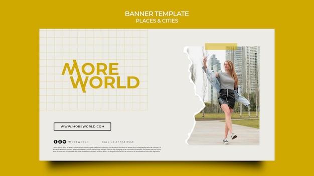 Horizontale banner voor steden en plaatsen die reizen