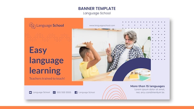 Horizontale banner voor taalschool