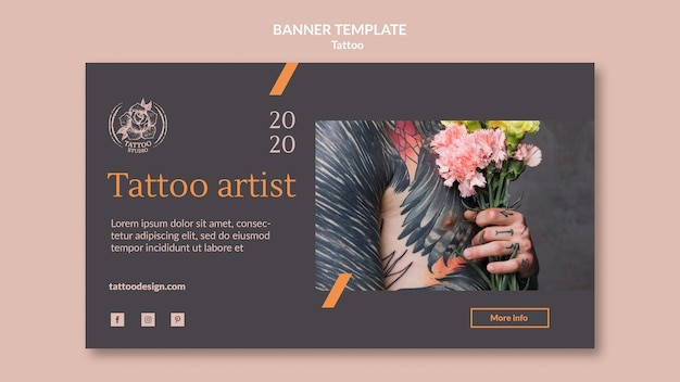 Horizontale banner voor tatoeëerder