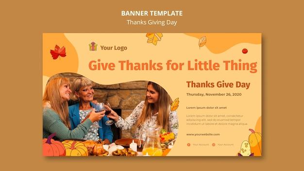 Horizontale banner voor thanksgiving-viering