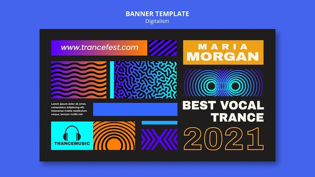 Horizontale banner voor trancemuziekfestival 2021 2021
