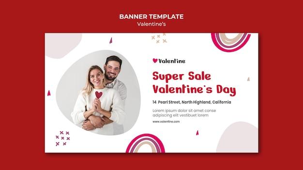Horizontale banner voor valentijnsdag met paar