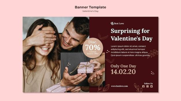 Horizontale banner voor valentijnsdag met romantisch koppel