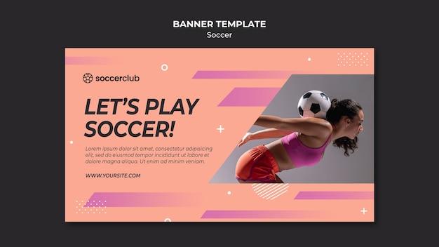 Horizontale banner voor voetballer Gratis Psd
