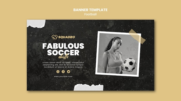 Horizontale banner voor vrouwelijke voetballer