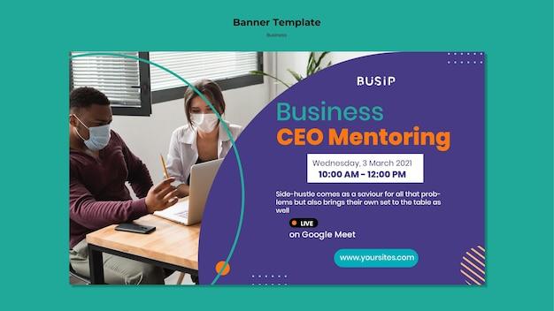 Horizontale banner voor webinar en het opstarten van bedrijven
