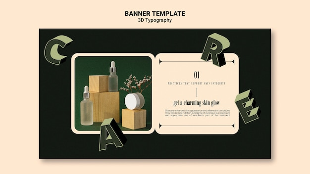 Horizontale banner voor weergave van etherische olieflessen met driedimensionale letters