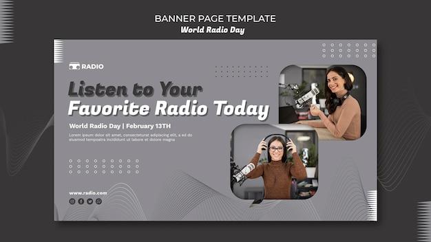Horizontale banner voor wereldradiodag met vrouwelijke omroep