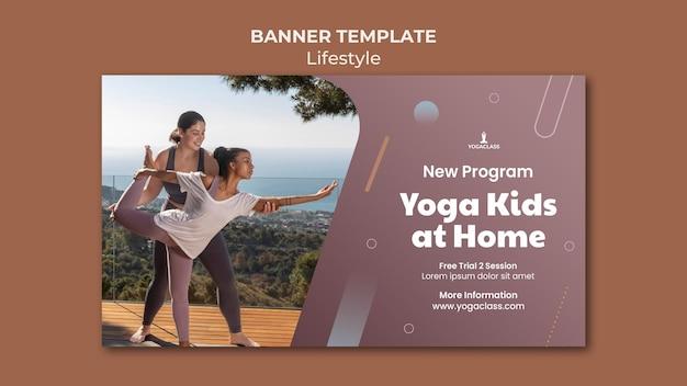 Horizontale banner voor yoga-oefeningen en oefeningen Gratis Psd