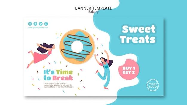 Horizontale banner voor zoete gebakken donuts