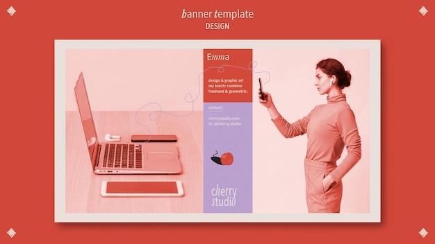 Horizontale bannermalplaatje voor grafisch ontwerper