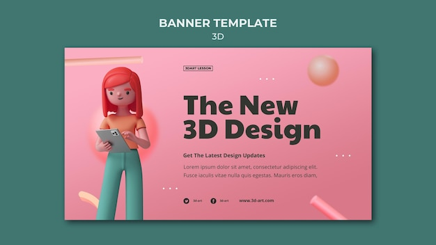 Horizontale bannersjabloon voor 3d-ontwerp met vrouw