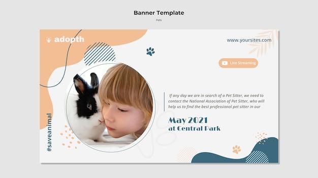 Horizontale bannersjabloon voor adoptie van huisdieren