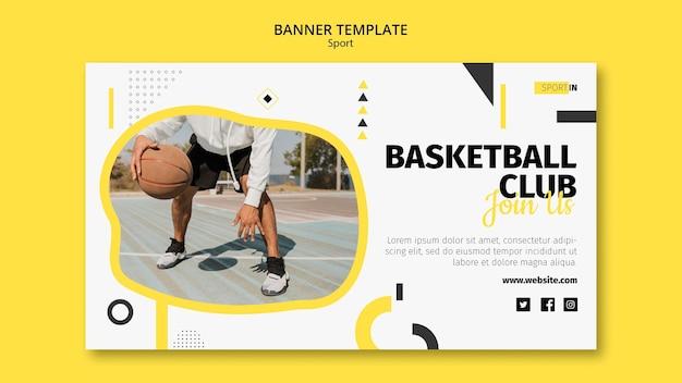 Horizontale bannersjabloon voor basketbalclub