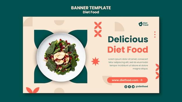 Horizontale bannersjabloon voor dieetvoeding