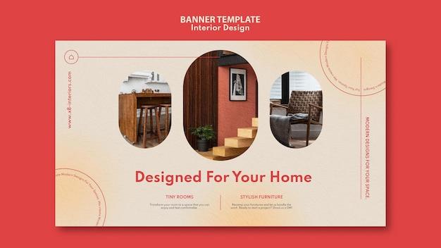 Horizontale bannersjabloon voor interieurontwerp