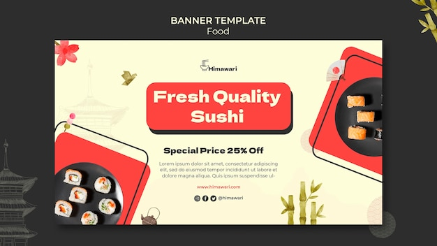 Horizontale bannersjabloon voor japans restaurant