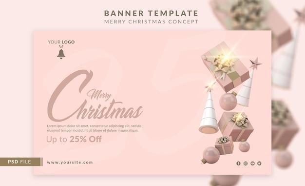 Horizontale bannersjabloon voor kerstpromotie