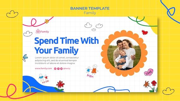 Horizontale bannersjabloon voor kwaliteitsvolle familietijd