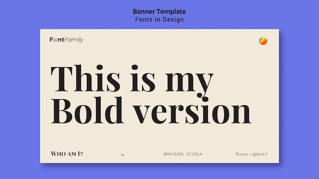 Horizontale bannersjabloon voor lettertypen en ontwerp