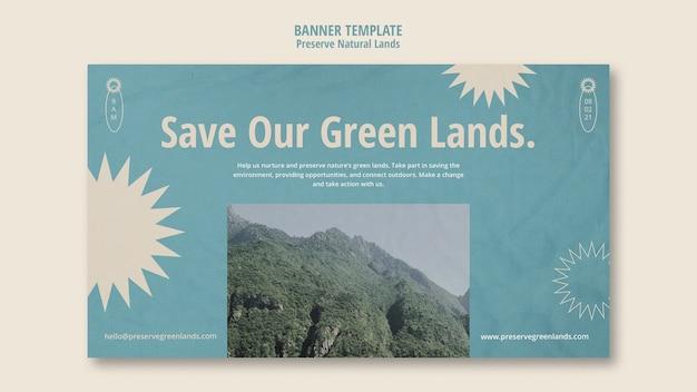 Horizontale bannersjabloon voor natuurbehoud met landschap