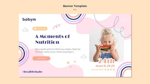 Horizontale bannersjabloon voor pasgeboren baby