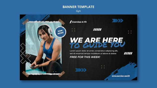 Horizontale bannersjabloon voor sportschool met vrouwelijke atleet