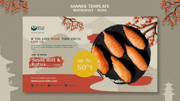 Horizontale bannersjabloon voor sushi-restaurant
