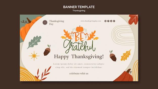 Horizontale bannersjabloon voor thanksgiving-dag met herfstdetails